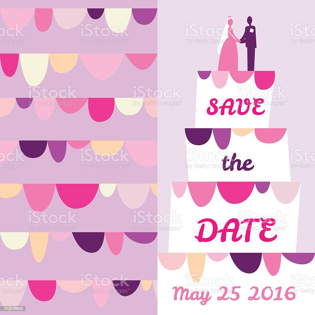 Guarde a data cartão.  Bolo de casamento - ilustração de arte em vetor