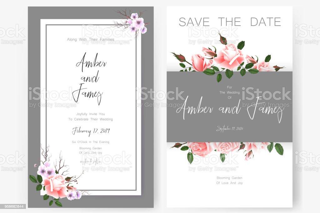 Save The Date Card Wedding Invitation Greeting Card With Beautiful Flowers And Letters Stockowe Grafiki Wektorowe I Więcej Obrazów Bez Ludzi