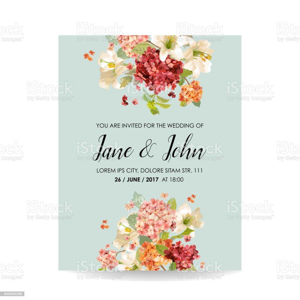 Speichern Sie Die Datumkarte Mit Herbst Vintage Hortensia Blumen Fur