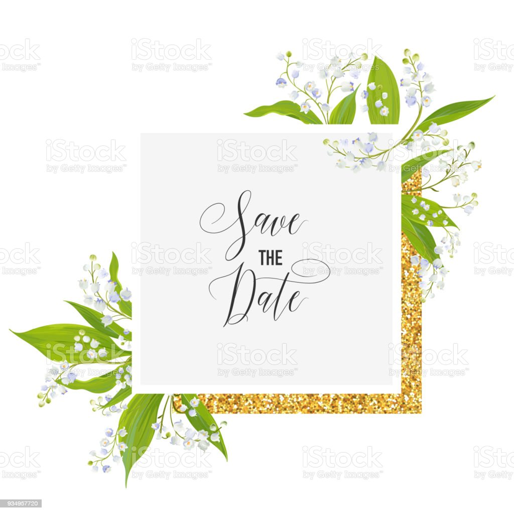 Save The Date Card With Blossom Lily Valley Flowers And Golden Frame ...