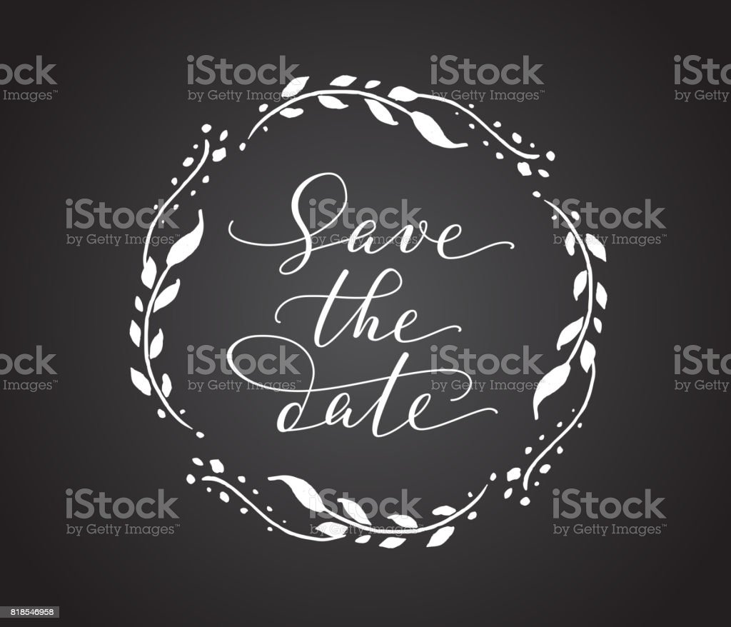 save the date card with floral wreath chalk board style black and