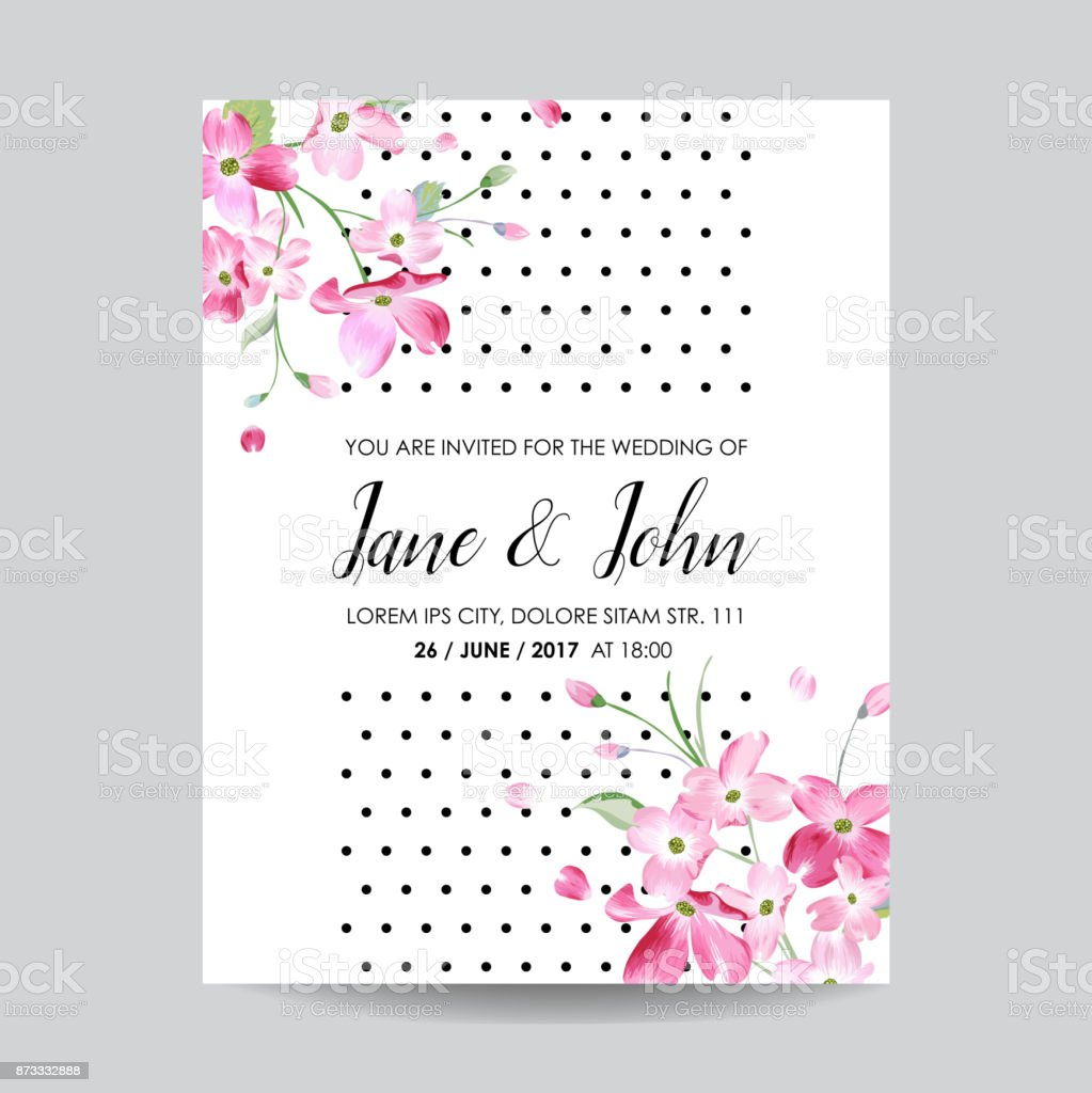 Save The Date Card With Spring Cherry Flowers For Wedding Invitation