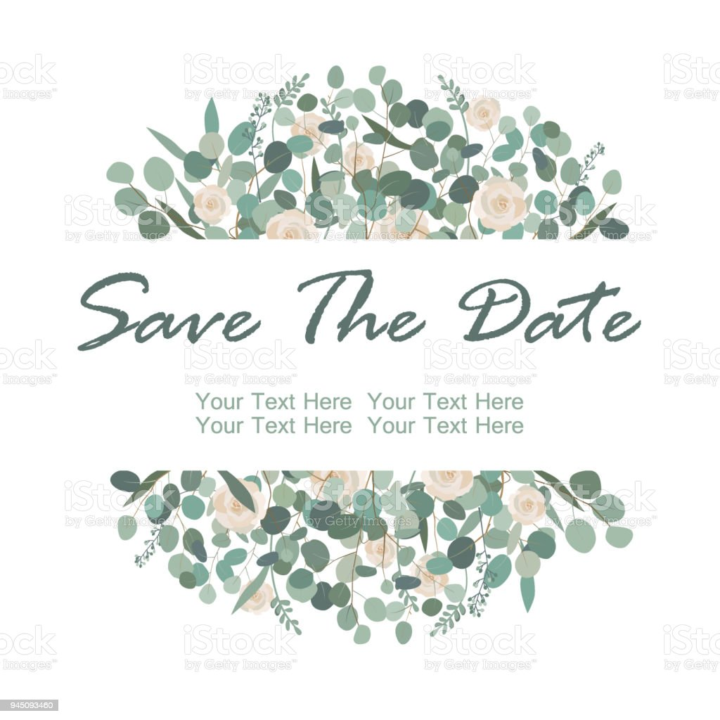 Save The Date Card With White Rose Flowers And Eucalyptus Frame ...