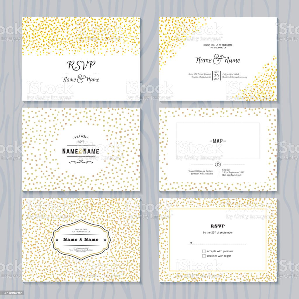 Save the Date Cards Set with Gold Confetti Borders vector art illustration