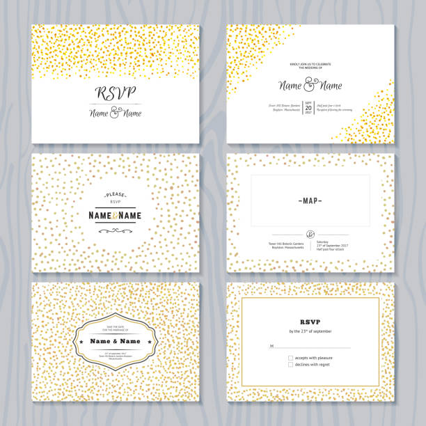 save the date cards set with gold confetti borders - anniversary drawings stock illustrations