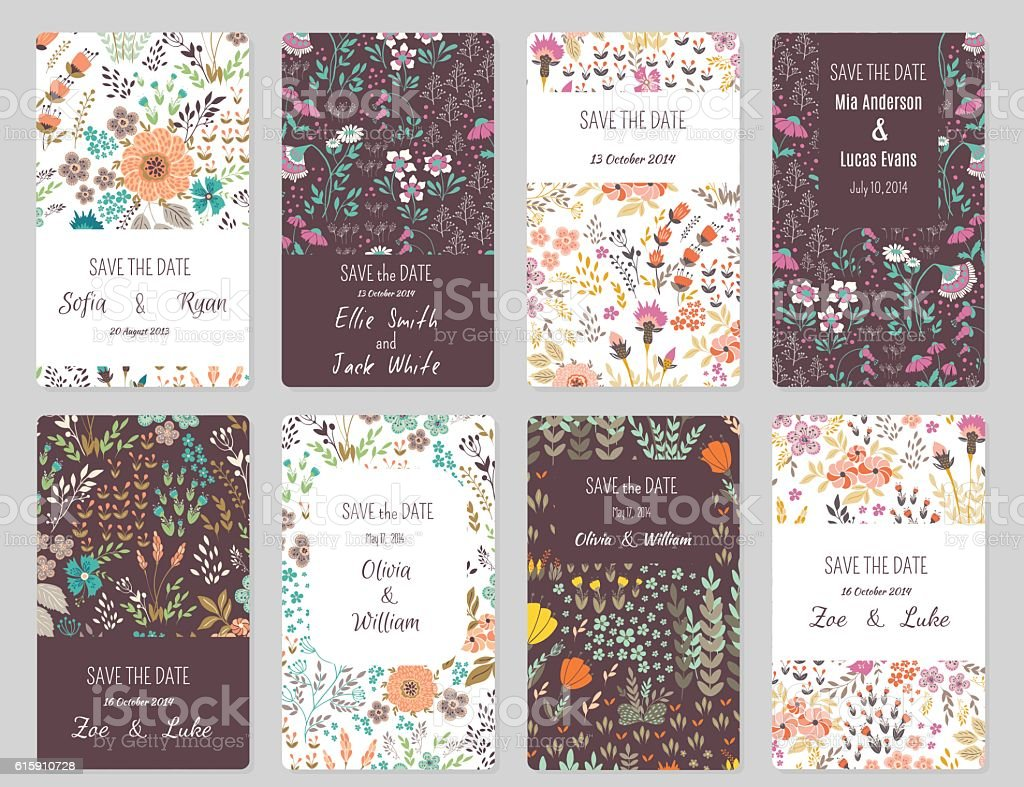 Save the date cards vector art illustration