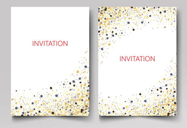 save the date collection with confetti design - invitation card stock illustrations, clip art, cartoons, & icons