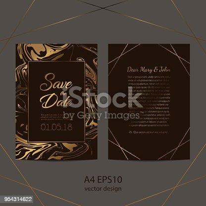 Save the date. Fashion and elegant wedding cards with ink marble texture and golden foil liquid effect on dark chocolate background. Template design for cover, banner, branding and identity. EPS 10 vector illustration