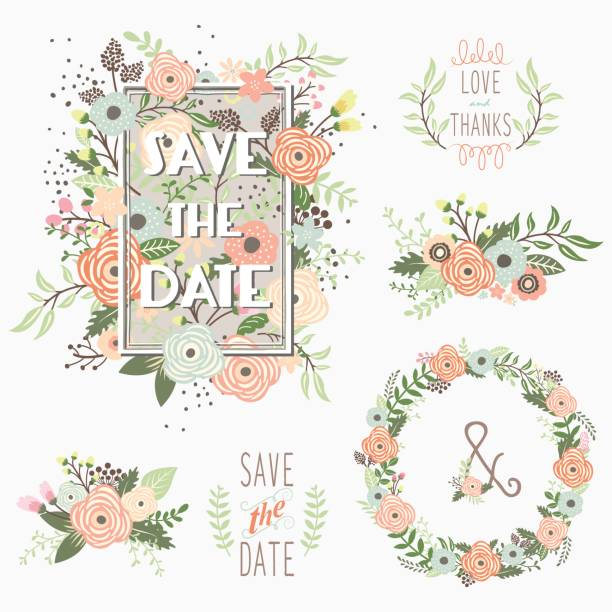 save the date floral elements - bachelorette party stock illustrations, clip art, cartoons, & icons