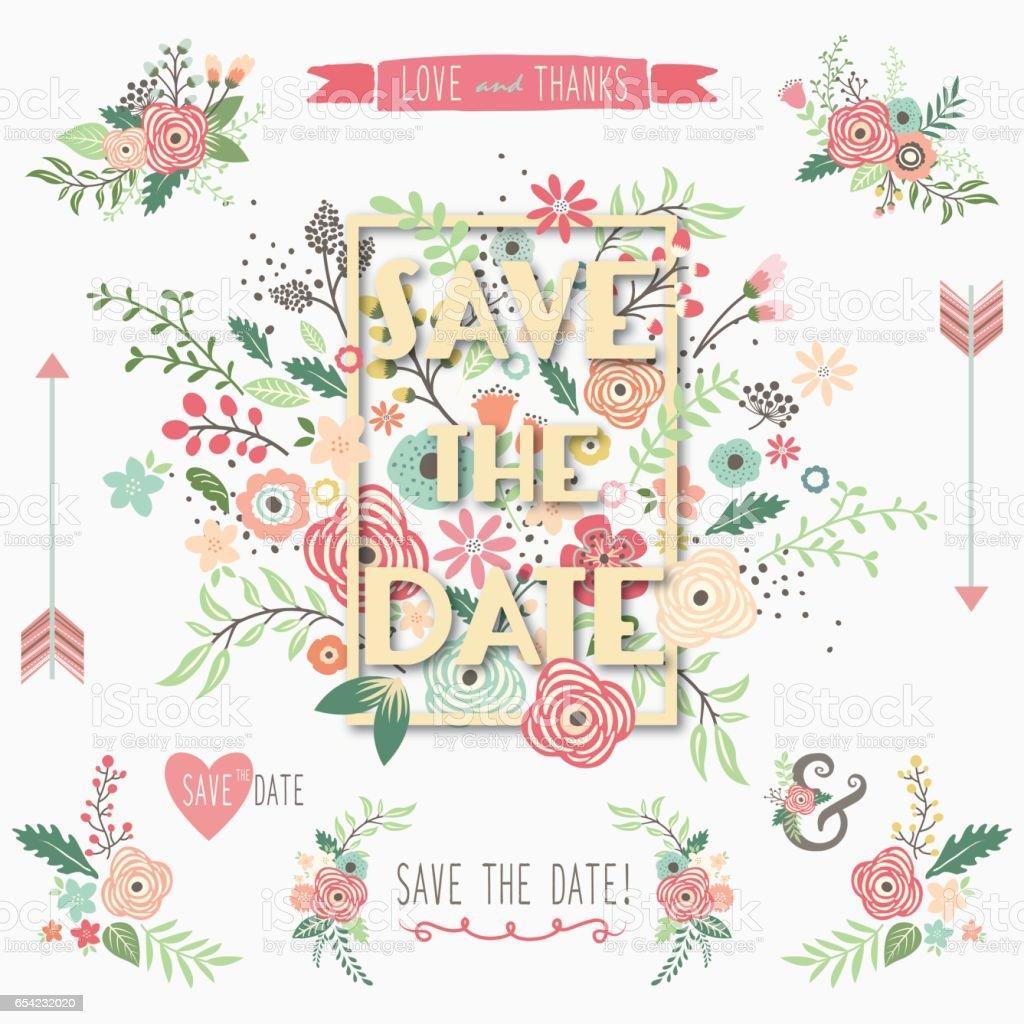 Save The Date Floral Frame Design vector art illustration