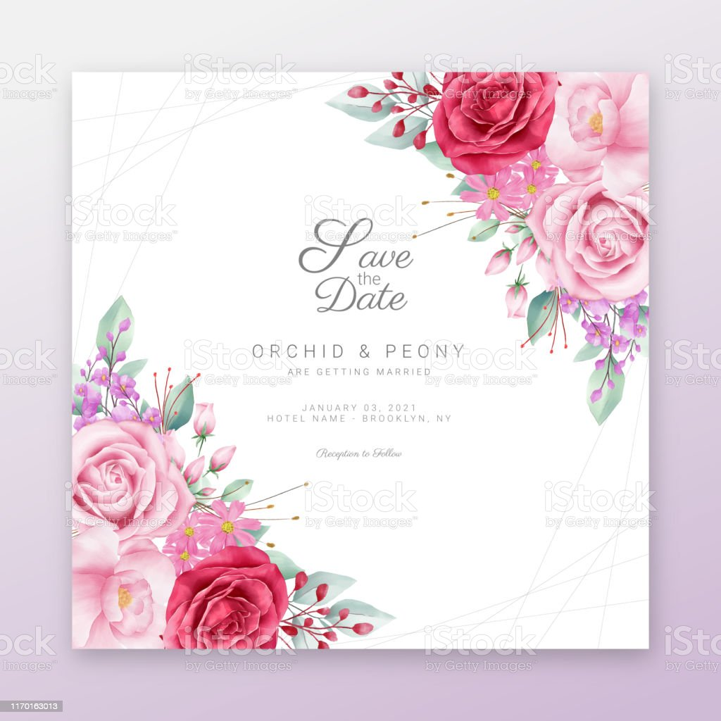 Save The Date Floral Frame With Watercolor Flowers Border
