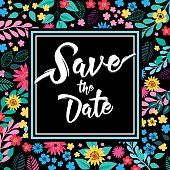 Save the date Floral square card