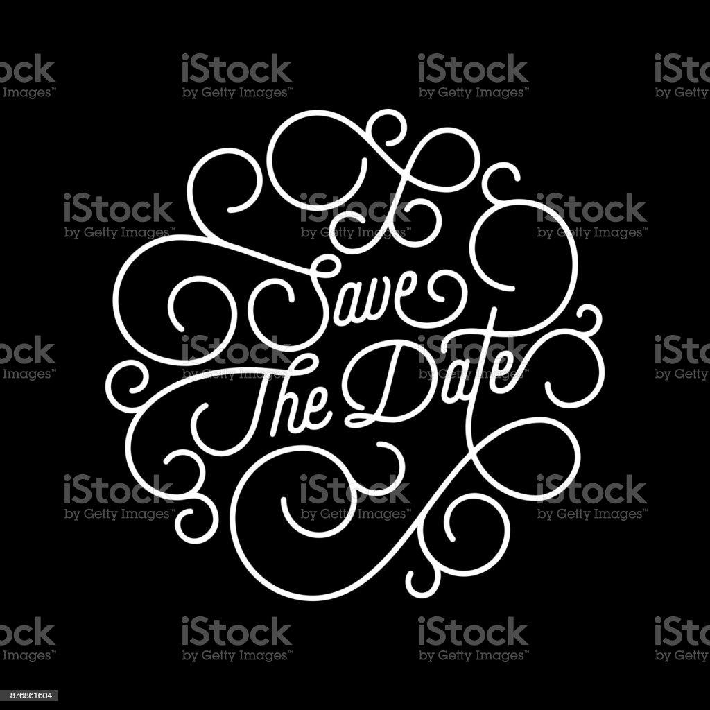 Speichern Sie Den Datum Gedeihen Kalligraphie Schriftzug Der Taumelscheibe  Linie Typografie Für Hochzeit Einladung Kartendesign.