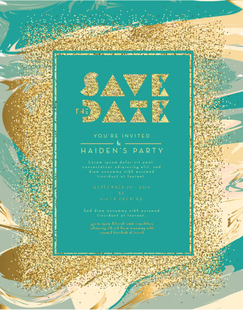 Save the date glitter and marble invitation design template vector art illustration