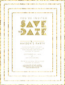 Save the date glitter invitation design template. Includes sample placement text. Easy to edit with layers.