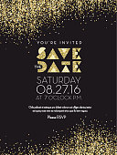 Save the Date Golden Glitter invitation design background. Placement text. Easy to edit.