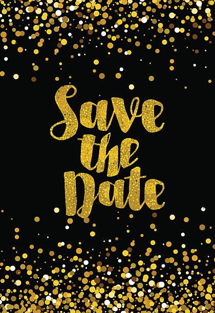Speichern Sie Datum Hochzeit Einladung Vorlage golden glitter – Vektorgrafik