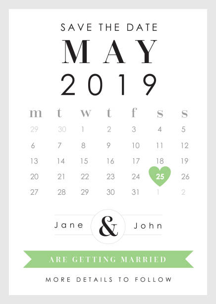save the date green heart theme - save the date calendar stock illustrations, clip art, cartoons, & icons