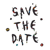 Save the Date doodle text. Vector.  Isolated on white background.
