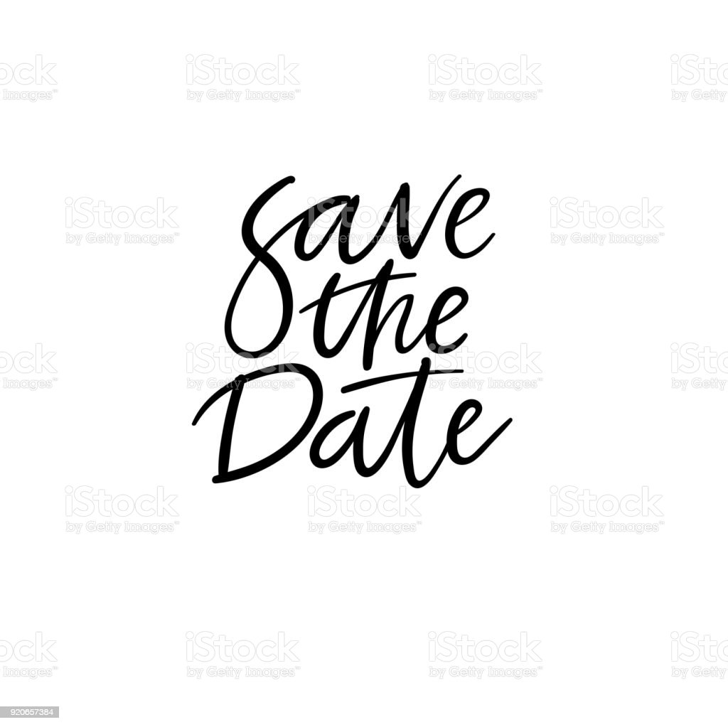 Save The Date Hand Lettering Card Wedding Invitation Modern ...