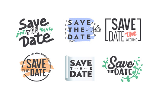 Save the Date Icons or Banners Set with Typography or Lettering and Decorative Elements Isolated on White Background