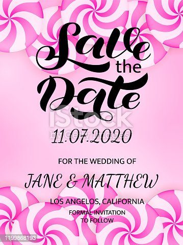 istock Save the date lettering. Vector stock illustration for poster or banner 1199868193