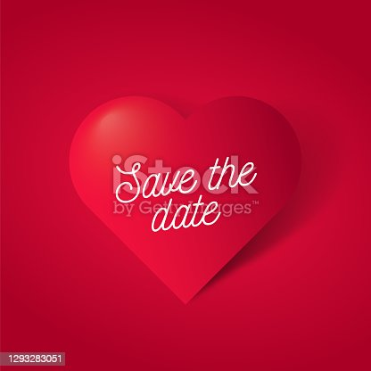 istock Save the date lettering with symbol 3d red heart on red background. stock illustration 1293283051