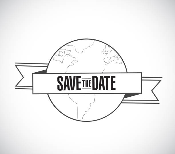 save the date line globe ribbon message concept - save the date calendar stock illustrations, clip art, cartoons, & icons