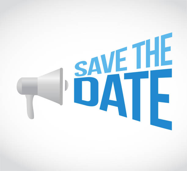 save the date loudspeaker message concept - save the date calendar stock illustrations, clip art, cartoons, & icons