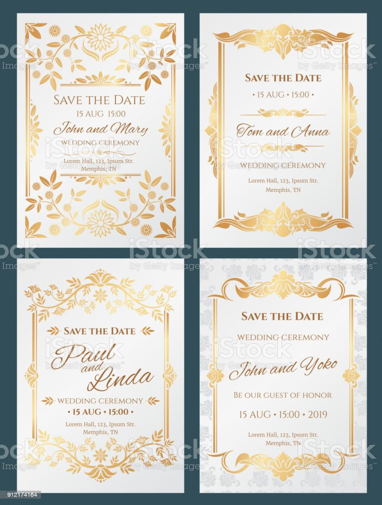 Save The Date Luxury Vector Wedding Invitation Cards With Gold Elegant  Border Frame Stock Illustration - Download Image Now - iStock