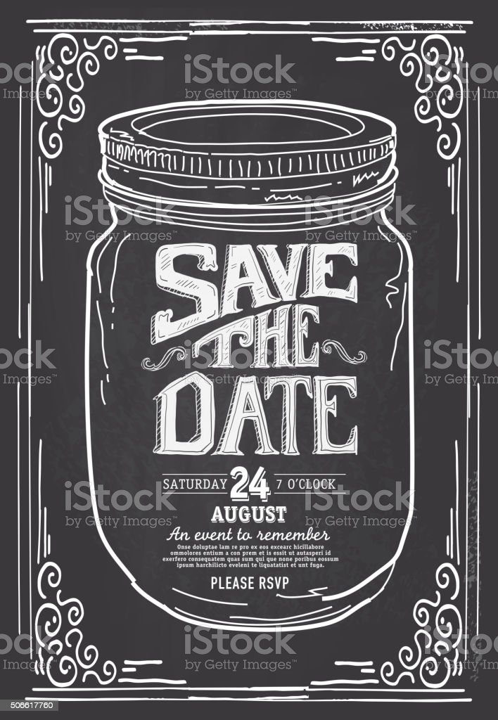Save The Date Mason Jar Chalkboard Invitation Design Template Stock