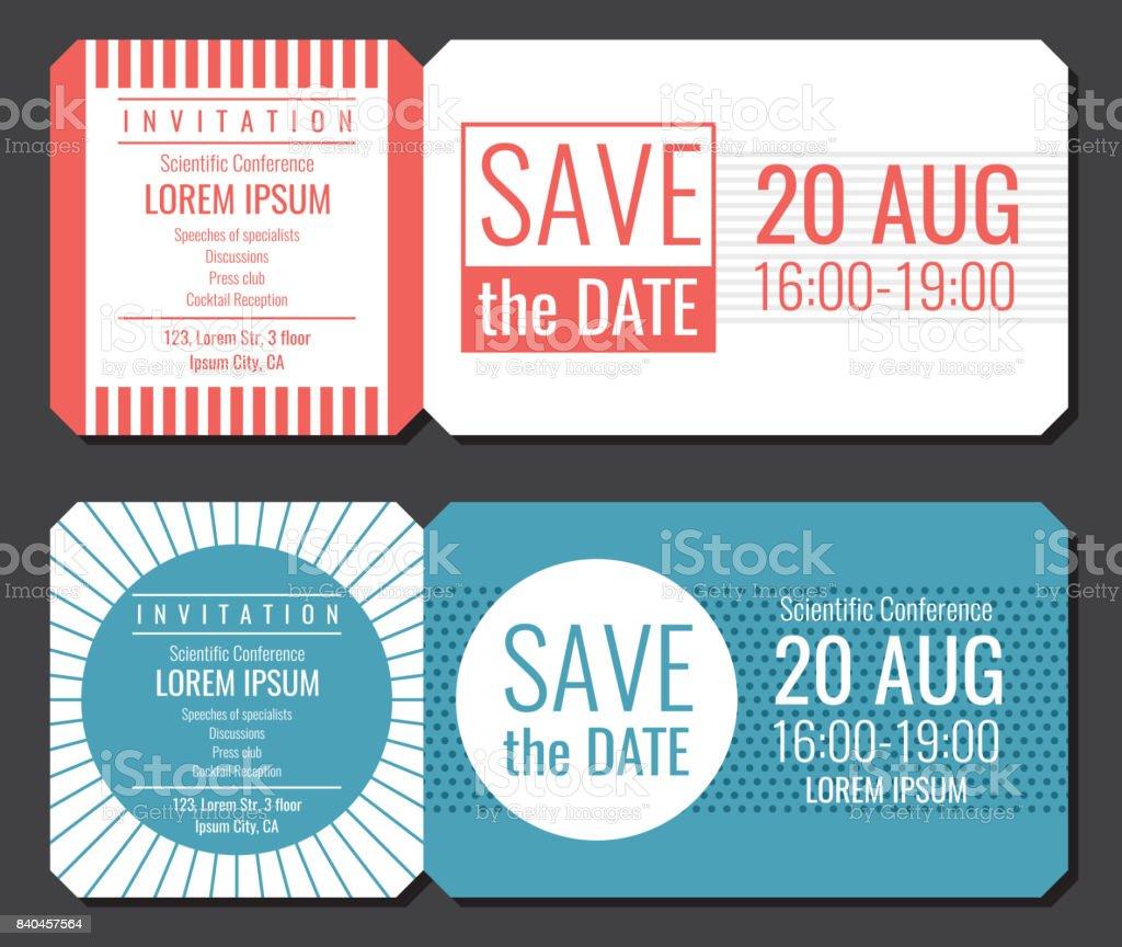 日付のシンプルな招待状チケットのベクトル デザインを保存します結婚式