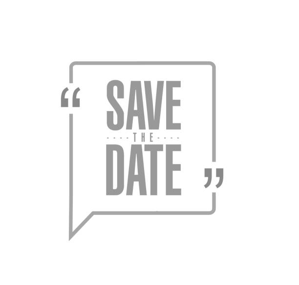 stockillustraties, clipart, cartoons en iconen met de datum moderne stempel bericht ontwerp opslaan - save the date