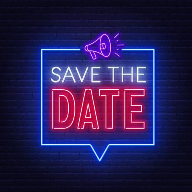 speichern sie das datum neon zeichen auf ziegelwand hintergrund. - save the date stock-grafiken, -clipart, -cartoons und -symbole