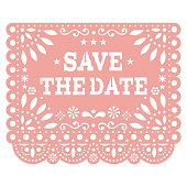 istock Save the date Papel Picado vector party banner design, Mexican cut out paper decoration with flowers, stars, and geometric shapes 1313822004