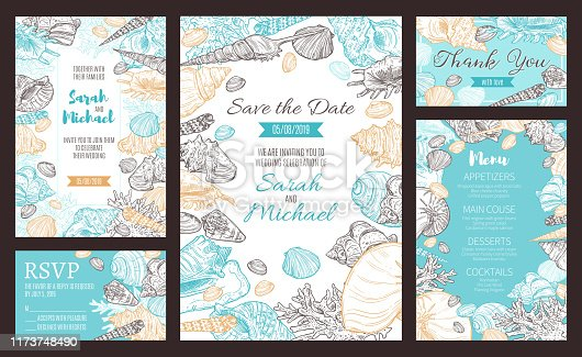 Save the Date invitations and wedding dinner party menu. Vector marine seashells and nautical corals sketch pattern, RSVP bride and groom wedding and engagement celebration date