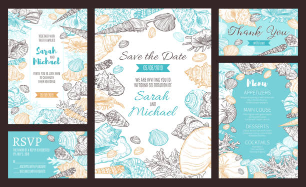 Save the Date party invitation, marine sketch menu Save the Date invitations and wedding dinner party menu. Vector marine seashells and nautical corals sketch pattern, RSVP bride and groom wedding and engagement celebration date beach borders stock illustrations