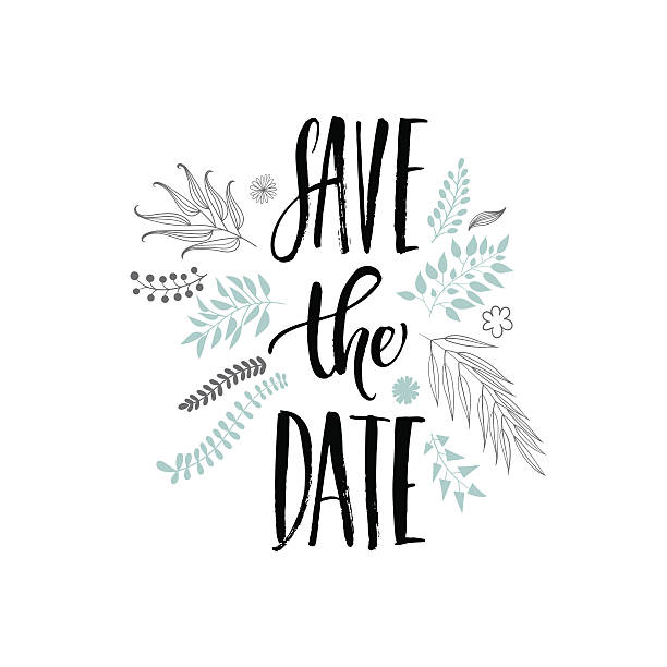 save the date phrase vector art illustration