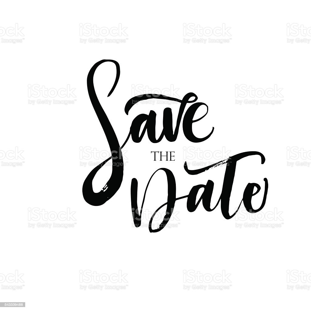Save The Date phrase. vector art illustration