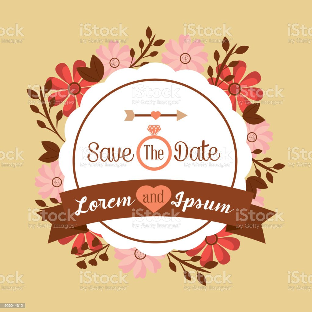 Save The Date Poster Floral Invitation Wedding Banner Stock Illustration Download Image Now Istock