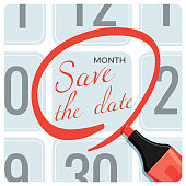 istock Save the date poster with red circle mark on calendar 878349982