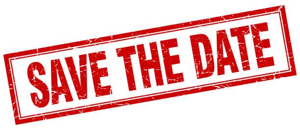 speichern der datumsstempel rotes quadrat grunge auf weiß - save the date stock-grafiken, -clipart, -cartoons und -symbole