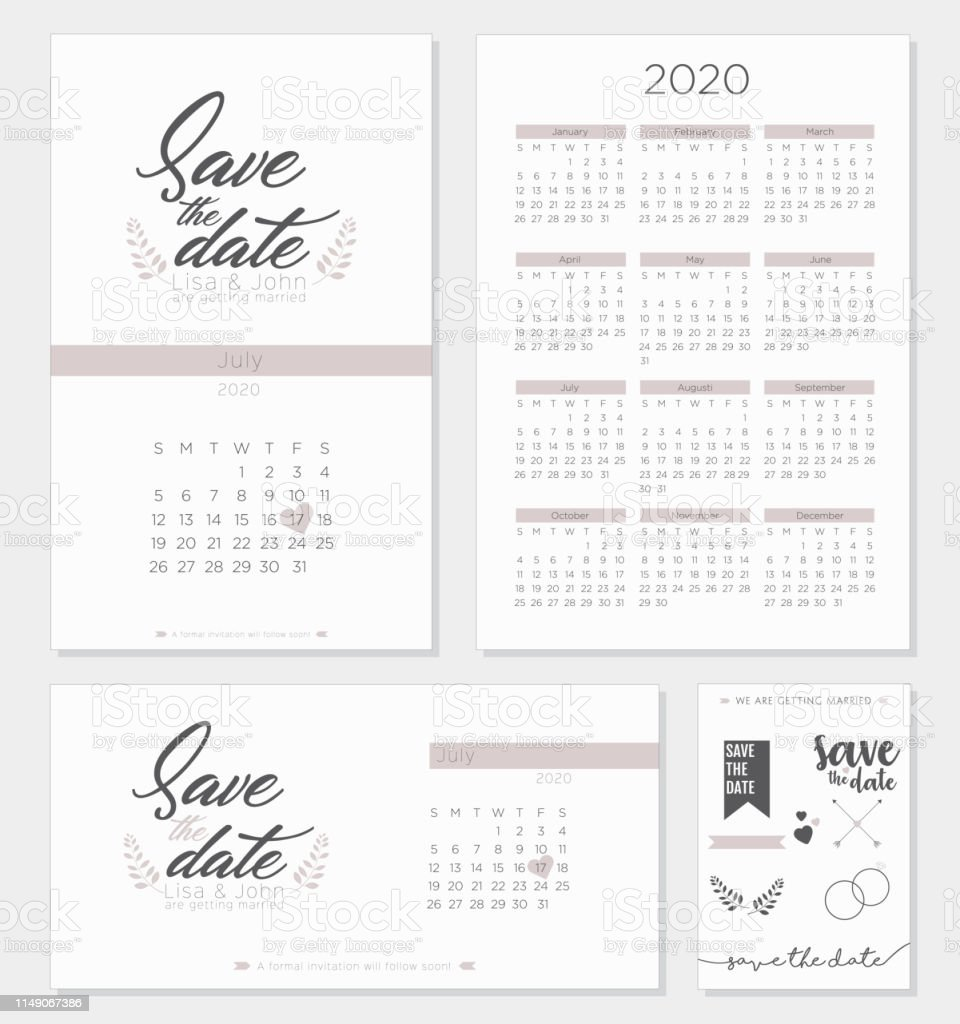 Heart And Stroke Calendar 2020 Save The Date Retro Wedding Invitation Calendar 2020 Template