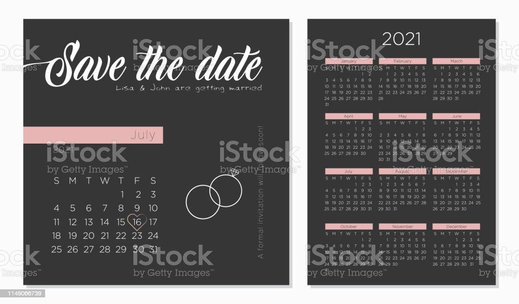 Enregistrer La Date De Mariage Rétro Invitation Calendrier 2021