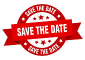 save the date ribbon. save the date round red sign. save the date