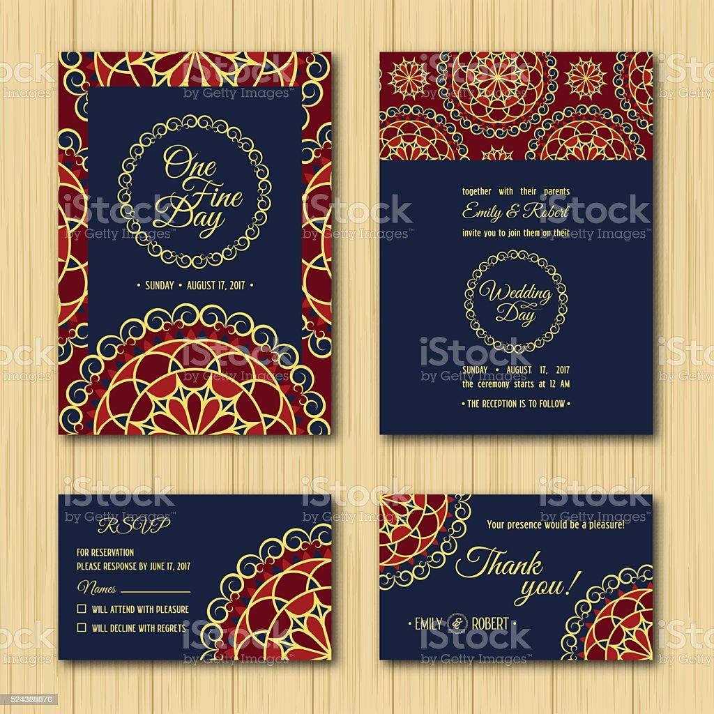 Speichern Sie Das Datum Für RSVP Hochzeit Einladung Karten Orange  Farbpalette In Blau Lizenzfreies Speichern Sie