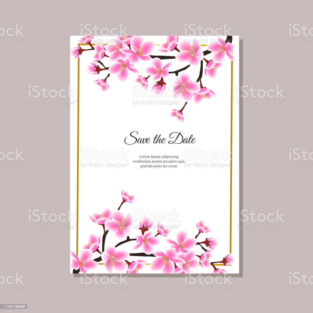 Save The Date Sakura Tree Branch Frame On Top And Bottom Of Wedding  Invitation Template Stock Illustration - Download Image Now