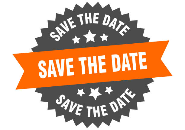 das datumszeichen speichern. speichern des datums orange-schwarzes kreisbandetikett - save the date stock-grafiken, -clipart, -cartoons und -symbole