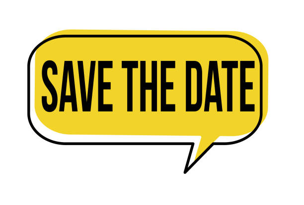 stockillustraties, clipart, cartoons en iconen met opslaan van de tekstballon datum - save the date