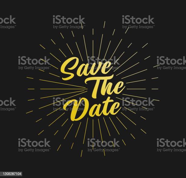 Speichern Sie Das Datum Sunburst Line Rays Für Grußkarte Poster Und Webbanner Vektorillustration Designvorlage Stock Vektor Art und mehr Bilder von Abstrakt